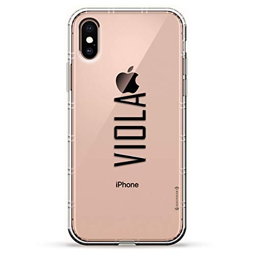VIOLA, MODERN FONT FIRST NAME   Luxendary Air Series Clear Silicone Case with 3D printed design and Air-Pocket Cushion Bumper for iPhone Xs Max (new 2018/2019 model with 6.5