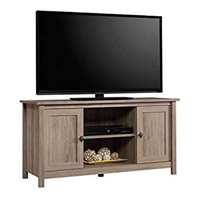 "Sauder County Line Panel TV Stand, For TVs up to 47"", Salt Oak finish - Accommodates up to a 47"" TV weighing 70 lbs. 0r less Adjustable center shelf holds audio/video equipment Adjustable shelf behind each door holds DVDs and CDs - tv-stands, living-room-furniture, living-room - 41%2BDa2ZNkML. SS400  -"