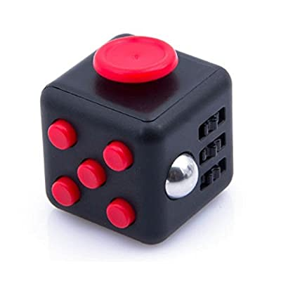 Purpplex Fidget Cube Relieves Stress And Anxiety for Children and Adults, Sensory Kids, Relieves Stress Boredom and Depression, Perfect Gift - Black/Red