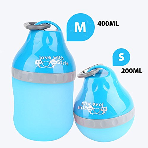 Portable Pet Water Bottle,Tinkle ONE Silicone Folding Drinking Water Bowl Outdoor Travel Waterer Feeder for Dogs,Cats,Puppy (400ML, Blue)