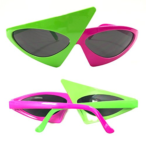 Asymmetric Party Glasses | Neon Green and Hot Pink Fashion Accessory | One Size Fits Most | 2 Pieces Bundle Set -