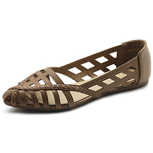 Ollio Women's Shoes Breathable Caged Pointed Toe Ballet Flats F103 (7 B(M) US, Taupe)