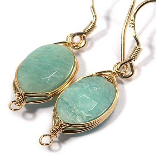 Natural Stone Wire Wrap Dangle Drop Earrings Gold Plated 925 Sterling Silver Hook/Blue Amazonite Oval