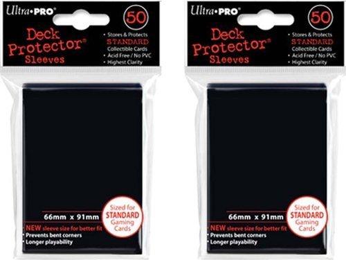 (100x) Ultra PRO Black Deck Protectors Sleeves Standard MTG ()