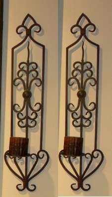 Luxury Large Iron Scrollwork Wall Sconce Set ()
