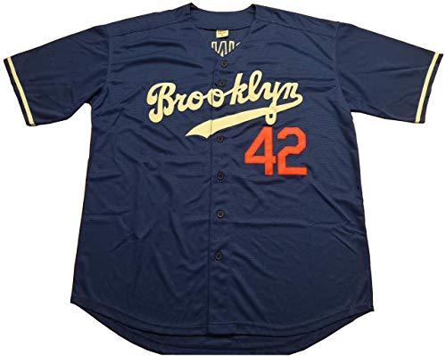 - Kooy Robinson #42 Brooklyn Baseball Jersey Men Throwback Summer Christmas (Blue, X-Large)