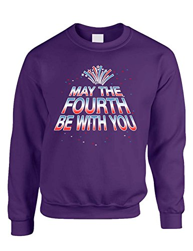 Allntrends Adult Sweatshirt May The Fourth Be with You Cool 4th of July Top (L, Purple) -