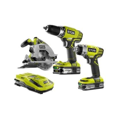 Ryobi ONE+ 18-Volt Lithium-Ion Cordless Combo Kit (3-Tool) with two 18-Volt ONE+ compact lithium+ batteries and charger