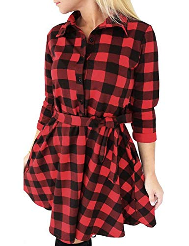 FANCYINN Women Long Sleeve Plaid Pattern Tunic Tops Shirt Casual Spring Dress Red XL