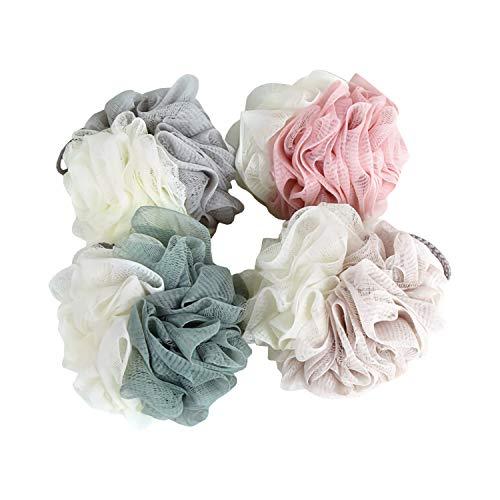 (S&C,4 pack Bath Sponge Exfoliating Loofahs, Pouf Shower Ball, (60 grams each))