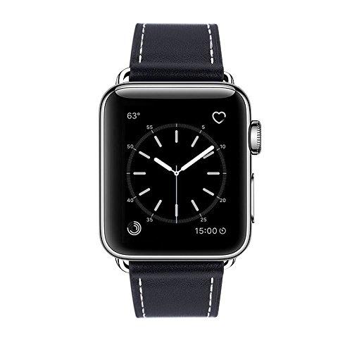 Marge Plus Compatible Apple Watch Band 42 mm 44 mm, Reemplazo de cuero genuino para iwatch Correa Compatible con Apple Watch Serie 4 (44 mm) Serie 3 Serie 2 Serie 1 (42 mm) Edición Sport, Negro