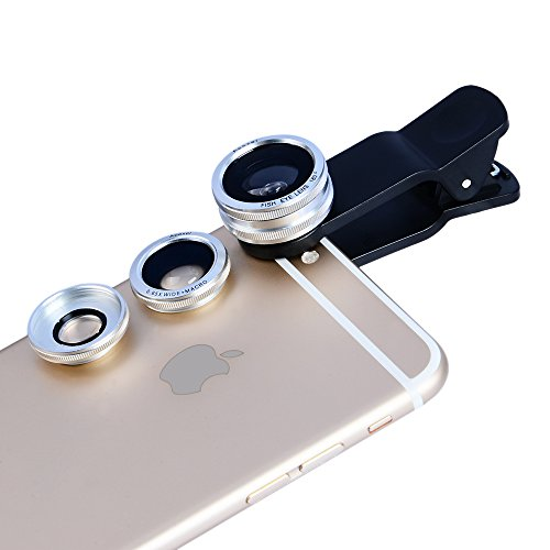 3-in-1 Macro/Fish-eye/Wide Clip Lens for Mobile Phone and Tablets (Silver) - 6