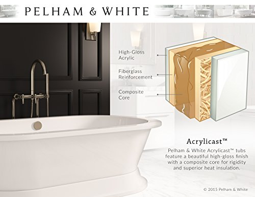 Luxury 54 inch Small Clawfoot Tub with Vintage Tub Design in White, includes Polished Chrome Ball and Claw Feet and Drain, from The Highview Collection by Pelham & White (Image #5)