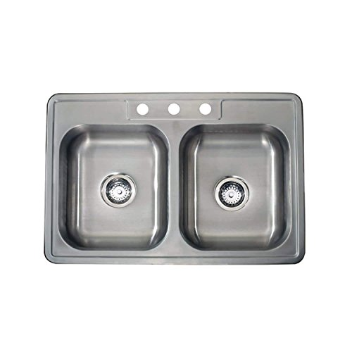 Apogee Satin Finish 22-gauge Stainless Steel Drop-in Double Bowl Sink 33x22 inch, 22 gauge