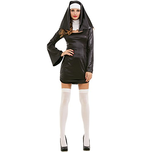 [Sinful Sister Adult Women's Nun Habit Halloween Roleplay & Cosplay Costume, Black, Large] (Nun Habit Halloween Costume)
