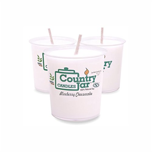 Country Jar BLUEBERRY CHEESECAKE Votive Candles (6.25 oz. - 3 Votive Set) Made with All-Natural SuperSoy Wax, 3 FOR $20! MIX OR MATCH SALE!
