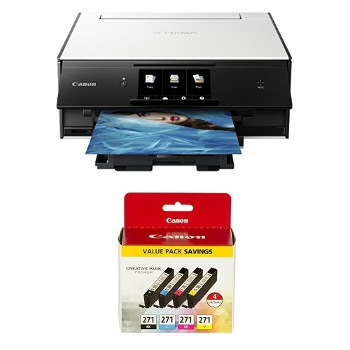 Canon PIXMA TS9020 Printer and Ink Bundle, White by Canon