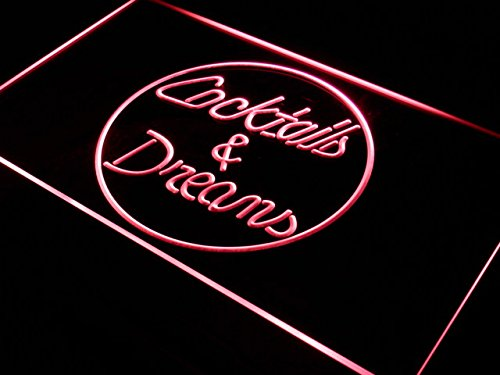 Cartel Luminoso ADV PRO i336-r Cocktails & Dreams Wine Shop NEW Neon Light Sign