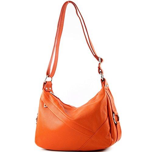 de hombro Cuero Bolso Bolso ital de hombro Bolso señora genuino de modamoda T164 Orange de de cuero Bolso qO6Fw8xz
