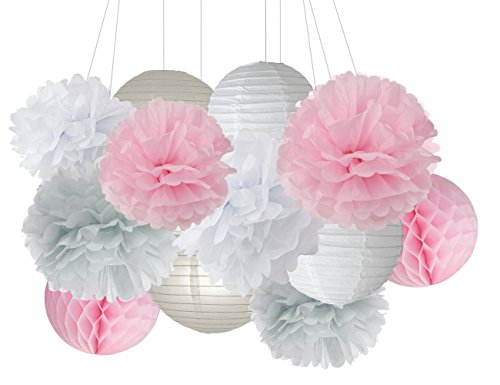 Party Decoration Furuix Pink Grey White Big Tissue Paper Pom Pom Honeycomb Ball for Bridal Shower Girls' Birthday Wedding Decoration Pink Baby Shower Room Decoration Party (Baby Shower Decorations Girls)