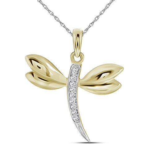 Roy Rose Jewelry 10K Yellow Gold Diamond-accented Dragonfly Womens Winged Bug Insect Charm Pendant .03-Carat tw