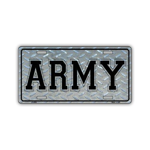 Novelty Vanity License Plate Tag Cover - Army (Diamond Plate Look) - 12