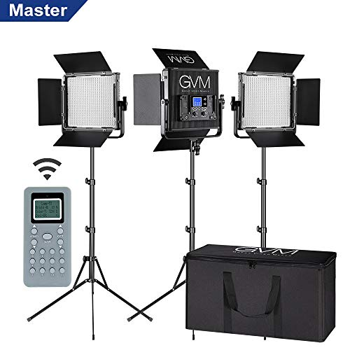 LED Video Light GVM 672S CRI97+ TLCI97+ 22000lux Dimmable Bi-color 3200K-5600K Light Panel With Digital Display For Outdoor Interview Studio Video Making Photography Lighting 3 pcs Kit (Best Led Light Kit For Interviews)