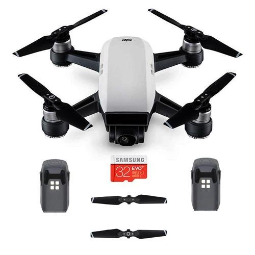 DJI Spark Mini Drone - Alpine White - Bundle with Spare Intelligent Flight Battery, Quick-Release Folding Propellers, 32GB Micro SDHC Card