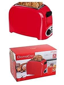 Compacto de 2tostadas con 750W (Función de descongelación rápida, función parada, bandeja recogemigas, Toast automática, Rojo)