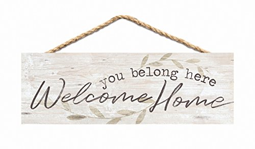 P. Graham Dunn You Belong Welcome Home Whitewash 10 x 3.5 Inch Pine Wood Slat Hanging Wall -