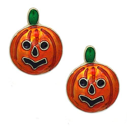 cocojewelry Pumpkin Dangle Charm Post Stud Earrings Fall Autumn Thanksgiving Halloween Jewelry (Enamel Stud - 0.5 Inch) -
