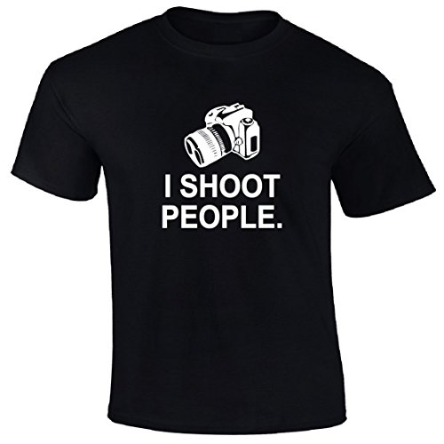 Superb Selection I Shoot People Adult T-Shirt (Large, Black) (T-shirt Adult People Person)