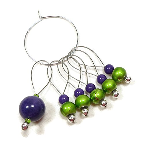 Handmade Beaded Stitch Markers for Knitting Dark Purple Bright Green (Markers Stitch Purple)