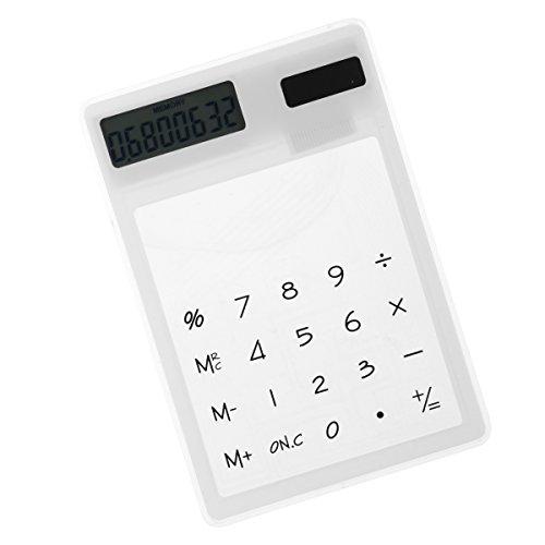 frcolor funciona con energía solar calculadora diseño de panel único táctil transparente pequeño calculadora, Blanco,...