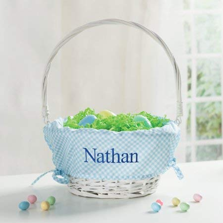Personalized Wicker Easter Basket - Blue Liner -