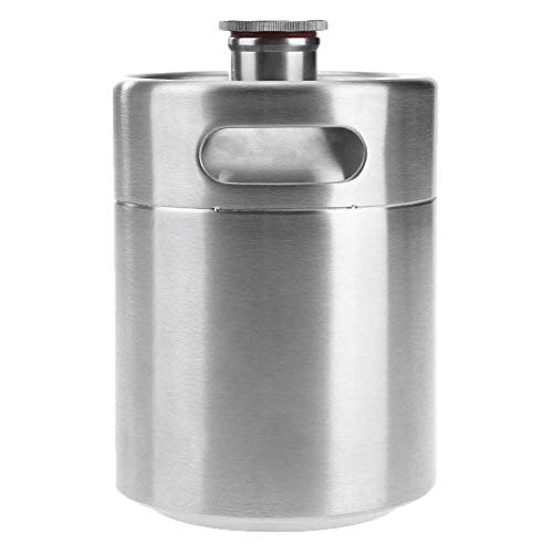 fublousRR5 Beer Keg, 2.0/3.6/5L Large Capacity Beer Barrel Outdoor Beer Wine Keg Bucket Holder, Food-Grade Stainless Steel, Durable Silver 2L