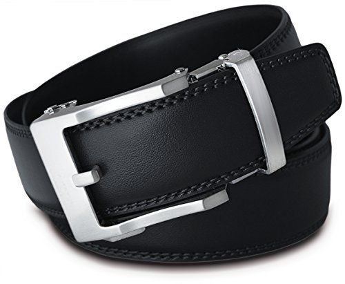 Men's Leather Ratchet Click Belt - Lincoln's Brushed Silver Buckle w/ Double Stitched Black Leather Belt (Trim to Fit: Up to 39'' Waist)