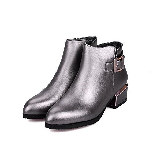 AgooLar Women's Zipper Pointed Closed Toe Low Heels Ankle High Boots Silver DTPyVjy8tB