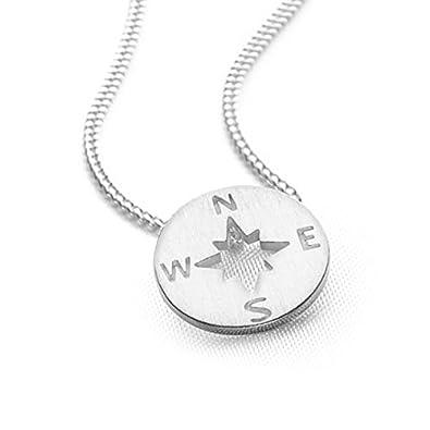 Silver compass pendant 40cm curb chain amazon jewellery silver compass pendant 40cm curb chain aloadofball Choice Image