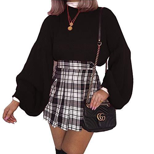 - PRETTYGARDEN Women's Loose Drop Shoulder Lantern Sleeve Round Neck Fashion Pullover Sweater Tops (Black, Small)