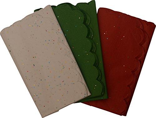 Christmas Glitter Tissue Paper; Red, White and Green; Scalloped edges; 110 (Christmas Glitter)