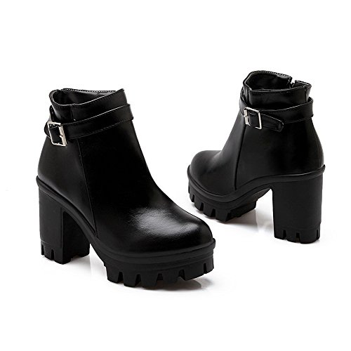 AmoonyFashion Womens Soft Material Zipper Round Closed Toe High-Heels Ankle-High Boots Black E2PbXeR2i