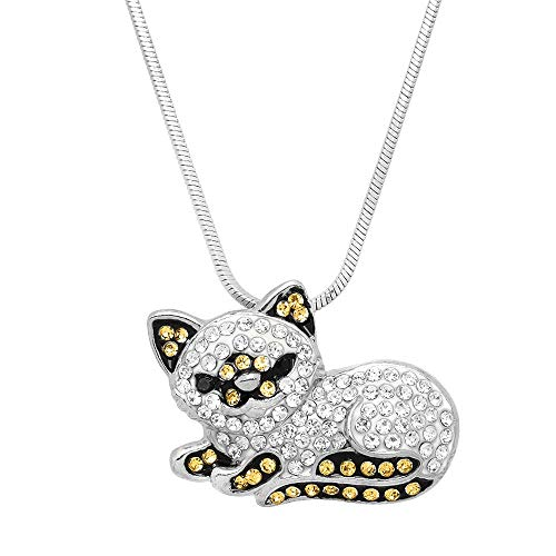 (Lola Bella Gifts Crystal Persian Himalayan Cat Pendant Necklace with Gift Box)