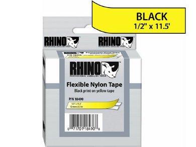 DYMO RHINO 1/2IN X 11.5FT, YELLOW FLEXIBLE NYLON LABELS