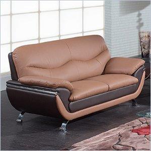 Global Furniture Leather Matching Loveseat, Tan/Brown/Chrome Legs