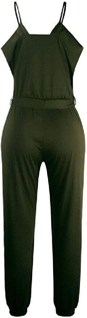 UUYUK Women Spaghetti Strap Long Pants Wrap V Neck Casual Jumpsuits Romper with Belt