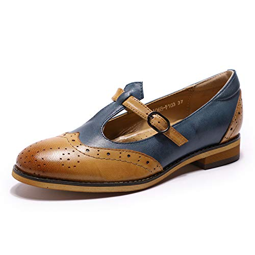 Ladies Vintage Shoes - Mona flying Womens Leather Mary Jane Flats Penny Loafers Vintage Shoes for Ladies Womens Girls Brown-Blue