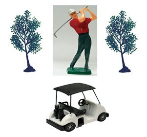 Golf Kit with Golfer, Golf Cart and two Trees Caketopper