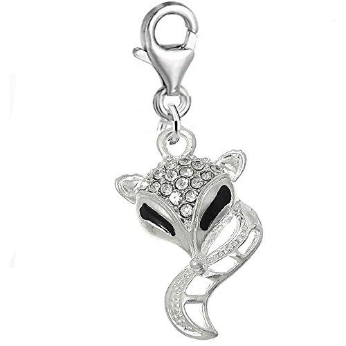 Sexy paillettes femmes de Fox Clip sur pendentif breloque pour bracelet bijoux W/homard fermoir