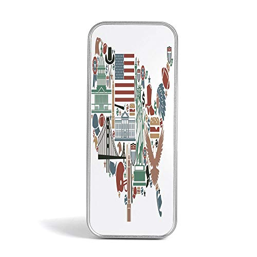 Tin Pencil Case,Map,with World Famous Arts for Office,Home,Makeup,Accessories Storage,Traditional Symbols in The Form of United States of America Map Travel Landmarks Flag -